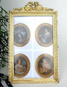 Antique French Bronze Picture Frame Nap. 3 Tied Ribbons