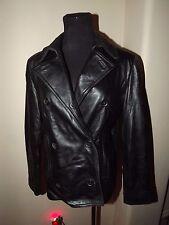 Preston and York Ladies Black Soft Leather Blazer Jacket Coat Super Warm Size XS