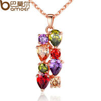 Women Gold Plated Necklace Pendant With Multi-Color AAA Zircon High Quality