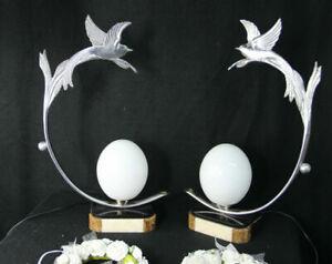 PAIR ART DECO 1930 French chrome marble onyx birds egg lamp bed desk