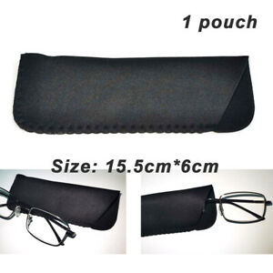 Black Pouch / Soft Drawstring Case Bag for Spectacles Reading Glasses Protective