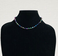 Vintage Necklace Collar Length Carnival Glass Faceted Beads Sparkly Costume Gift