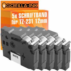 5x Schriftbandkassette für Brother P-Touch H100R H101 H101GB H101LB TZ-231
