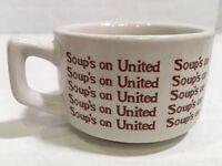 "Vintage United Airlines Soups On Cup 2"" Ceramic Mug Bowl Dinnerware 5 oz"
