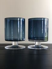Set of 2 London Blue Hurricane Candle Holders- by Crate and Barrel