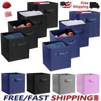 4PCS Foldable Storage Cube Basket Bins Organizer Closet Container Fabric Drawers