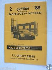 1988 HISTORISCHE RACEAUTO'S EN MOTOREN TT CIRCUIT ASSEN 2-10 PROGRAMMA PJ62