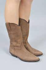 Vintage Bill Montana Dusty Brown Leather Cowboy Boots (UK 6)