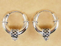 New Oxidized 925 Sterling Silver Byzantine Bali Style Hoops Earrings 20mm