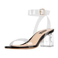 onlymaker Women Rhinestone Ankle Strap Mid Low Heel Open Toe Transparent Sandals
