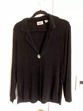 Chicos Travelers Black One Button Classic Cardigan Jacket Long Sleeve Sz 0 (4-6)