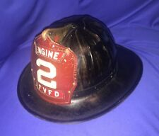 Black Cairns Fire Helmet Leather Front, Solid Helmet Size 7-1/4