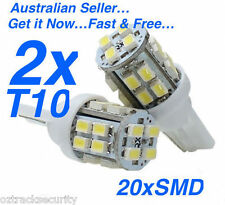 PAIR 12V 20 SMD LED T10 WEDGE GLOBES  WHITE-Interior Car/Truck/RV Light Bulb