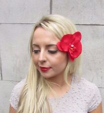 Large Red Orchid Flower Hair Clip Vintage Rockabilly 1950s Fascinator Boho 3284