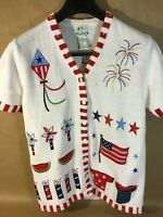 Womens The Quacker Factory Sweater White Cotton Fourth Of July Theme