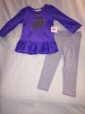 NEW JUICY COUTURE 2T OUTFIT PURPLE TUNIC GRAY LEGGINGS SO CUTE! GOLD LOGO