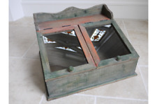 Small Rustic Wooden Cabinet With Glass Tops - Display Storage Pigeon Hole Chic