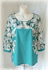 Jennifer Lopez M Medium Top Shirt Blouse Green Floral Cut Out 3/4 Sleeve Womens