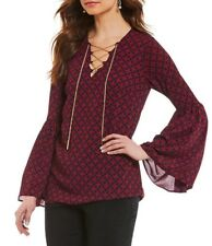 NWT $110 - MICHAEL KORS Rope Print Chain-Lace Bell Sleeve Top, Navy / Red, LARGE