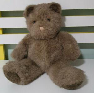 GUND TEDDY BEAR 1986 BROWN PINK STRING NOSE 30CM