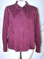 Apostrophe Strech Red Striped Long Sleeve Button Front Top Women Sz Large 12 14