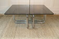 MCM Chrome & Smoked Glass Baughman Style Coffee Table