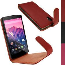 Rosso Custodia Case Pelle per LG Google Nexus 5 Funzione Sleep/Wake Prot Schermo