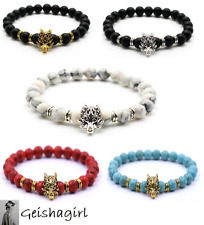 Chakra Black Lava Stone Viking Fenrir Wolf Dragon Bead Bracelet Wristband Mens