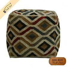 """Vintage Jute Seating Pouf Cover Handmade Kilim Ottoman Cover 18"""" Footstool Case"""