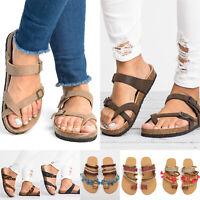 Women's Slide Buckle T-Strap Cork Footbed Platform Flip Flop Shoes Flat Sandals