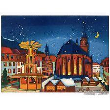 """Gerhard Hofmann: """"Heidelberger Weihnachtsmarkt"""" Orig.-Farbradierung, Heidelberg"""
