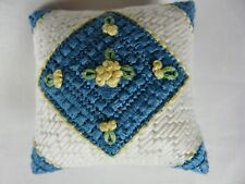 Vintage Needlepoint double sided Pin Cushion Primitive perfect execution  #2