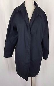 Eddie Bauer Rainwear All Weather Black Trench Midi Car Coat Jacket Womens M Rain