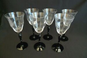VINTAGE WINE GLASSES SET (6) TWIST BLACK STEM CLEAR GLASS CRYSTAL GLOBES 10 OZ