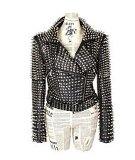 Punk rock Star Studded fitted Faux Leather woman jacket with a matching belt SML