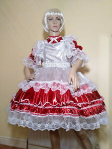 Sissy Red and White Mirror Lycra Maids Outfit