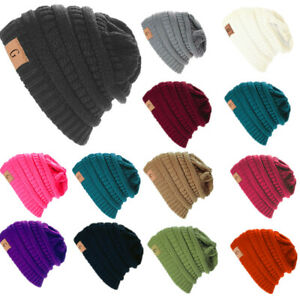 Unisex Winter Knitted Skull Oversize Messy Slouchy Baggy Beanie Hat Ski Cap Lot