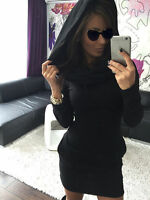 UK WOMENS HOODED SWEATSHIRT LADIES BODYCON T-SHIRE JUMPER DRESS SIZE 6-14 H013