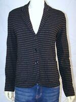 New Women's Black pinstriped Majestic Filatures delux teeshirt co Jacket Sz 2 M