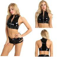Women Wetlook PVC Leather Zipper Vest Crop Top Turtle Neck Tank Tops  Clubwear