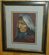 Original Pastel Drawing Red Cloud Indian Chief Portrait Porter Family Native