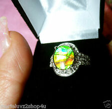 LQQK Sterling Silver, White Sapphire, & Ammoite Ring Sz 8 WOW COLOR FREE SHIP !