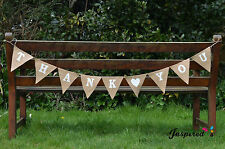 Hessian Bunting Burlap Banner Rustic Vintage Wedding Thank You White Heart White