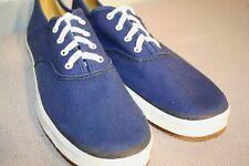 7.5 N Nos Vtg 1970s LaCrosse Round Toe Sneaker Navy Blue Canvas Tennis Gym Shoe
