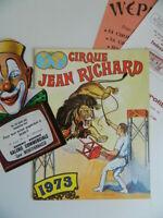 Programa Circo Jean Richard Catálogo 1973 y Pastillas