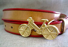 "Cynthia Rowley Bicycle Bike Buckle Red Light Tan Leather Belt M 32-36""  1"" Wide"