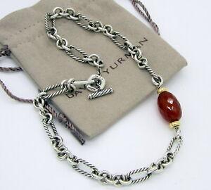Estate David Yurman Sterling Silver 18K Gold Carnelian 40.4 Gram Collar Necklace