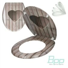 HEART DESING TOILET SEAT DUROPLAST SOFT CLOSE WC LID STANDARD OVAL SHAPE GLASSES