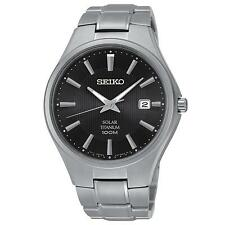 SEIKO MEN'S 40MM GREY TITANIUM BRACELET & CASE SOLAR BLACK DIAL WATCH SNE377P1