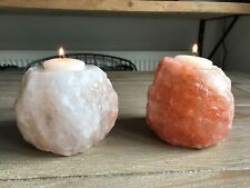 Pair of Large Rock Salt Crystal Candle Holders Pink & Clear/White